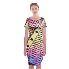 Optics Electronics Machine Technology Circuit Electronic Computer Technics Detail Psychedelic Abstra Classic Short Sleeve Midi Dress