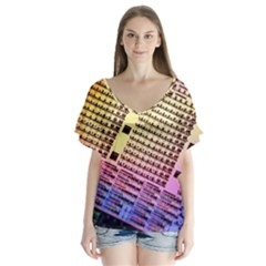 Optics Electronics Machine Technology Circuit Electronic Computer Technics Detail Psychedelic Abstra Flutter Sleeve Top