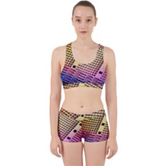 Optics Electronics Machine Technology Circuit Electronic Computer Technics Detail Psychedelic Abstra Work It Out Sports Bra Set