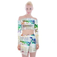 Imagine Dragons Quotes Off Shoulder Top With Skirt Set