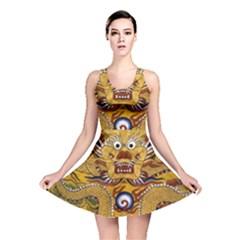 Chinese Dragon Pattern Reversible Skater Dress