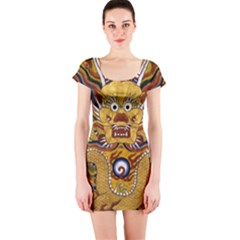 Chinese Dragon Pattern Short Sleeve Bodycon Dress