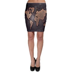 Grunge Map Of Earth Bodycon Skirt