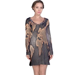 Grunge Map Of Earth Long Sleeve Nightdress