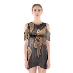 Grunge Map Of Earth Shoulder Cutout One Piece