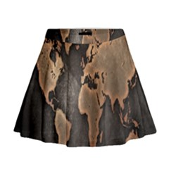 Grunge Map Of Earth Mini Flare Skirt