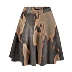 Grunge Map Of Earth High Waist Skirt