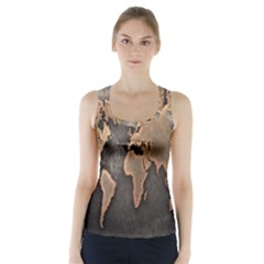 Grunge Map Of Earth Racer Back Sports Top