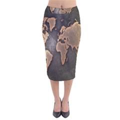 Grunge Map Of Earth Velvet Midi Pencil Skirt