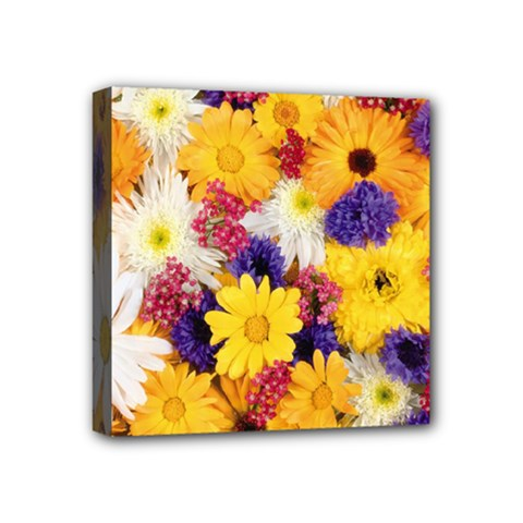 Colorful Flowers Pattern Mini Canvas 4  X 4