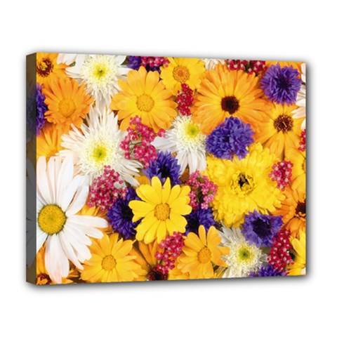 Colorful Flowers Pattern Canvas 14  X 11