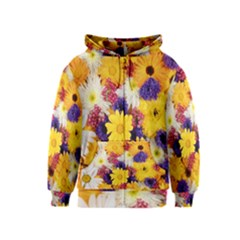 Colorful Flowers Pattern Kids  Zipper Hoodie