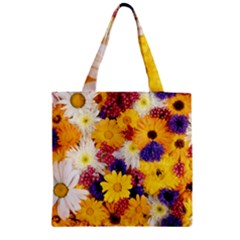 Colorful Flowers Pattern Zipper Grocery Tote Bag