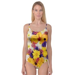 Colorful Flowers Pattern Camisole Leotard
