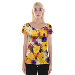 Colorful Flowers Pattern Cap Sleeve Tops