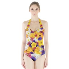Colorful Flowers Pattern Halter Swimsuit