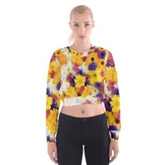 Colorful Flowers Pattern Cropped Sweatshirt