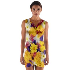Colorful Flowers Pattern Wrap Front Bodycon Dress