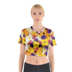 Colorful Flowers Pattern Cotton Crop Top