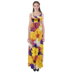 Colorful Flowers Pattern Empire Waist Maxi Dress
