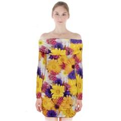 Colorful Flowers Pattern Long Sleeve Off Shoulder Dress