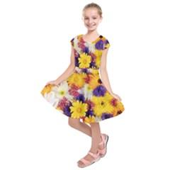 Colorful Flowers Pattern Kids  Short Sleeve Dress