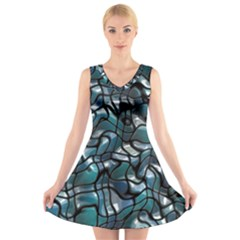 Old Spiderwebs On An Abstract Glass V Neck Sleeveless Skater Dress