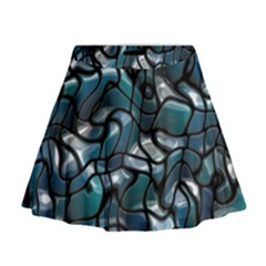 Old Spiderwebs On An Abstract Glass Mini Flare Skirt