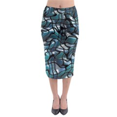 Old Spiderwebs On An Abstract Glass Midi Pencil Skirt