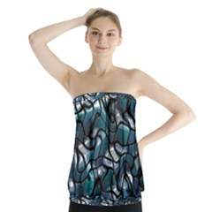 Old Spiderwebs On An Abstract Glass Strapless Top