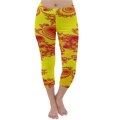 Floral Fractal Pattern Capri Winter Leggings