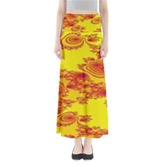 Floral Fractal Pattern Full Length Maxi Skirt