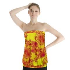 Floral Fractal Pattern Strapless Top