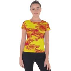 Floral Fractal Pattern Short Sleeve Sports Top