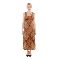 Vector Square Texture Pattern Sleeveless Maxi Dress