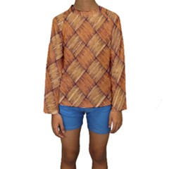 Vector Square Texture Pattern Kids  Long Sleeve Swimwear