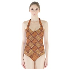 Vector Square Texture Pattern Halter Swimsuit