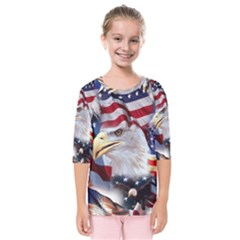 United States Of America Images Independence Day Kids  Quarter Sleeve Raglan Tee