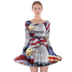 United States Of America Images Independence Day Long Sleeve Skater Dress