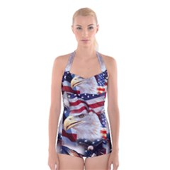 United States Of America Images Independence Day Boyleg Halter Swimsuit
