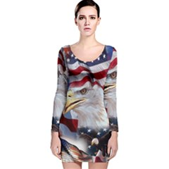 United States Of America Images Independence Day Long Sleeve Velvet Bodycon Dress
