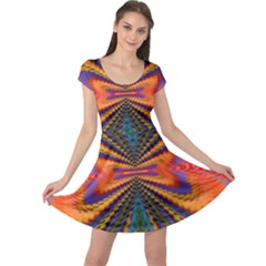 Casanova Abstract Art Colors Cool Druffix Flower Freaky Trippy Cap Sleeve Dresses