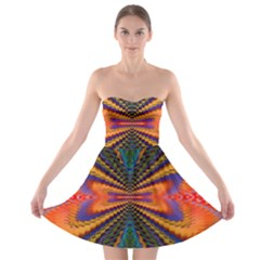 Casanova Abstract Art Colors Cool Druffix Flower Freaky Trippy Strapless Bra Top Dress