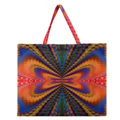 Casanova Abstract Art Colors Cool Druffix Flower Freaky Trippy Zipper Large Tote Bag