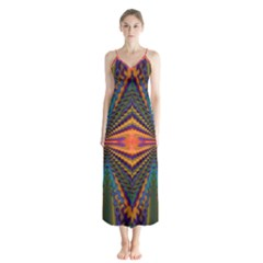 Casanova Abstract Art Colors Cool Druffix Flower Freaky Trippy Button Up Chiffon Maxi Dress