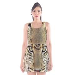 Leopard Face Scoop Neck Skater Dress