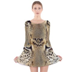 Leopard Face Long Sleeve Velvet Skater Dress