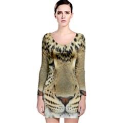 Leopard Face Long Sleeve Velvet Bodycon Dress
