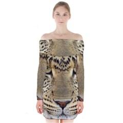 Leopard Face Long Sleeve Off Shoulder Dress