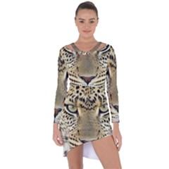 Leopard Face Asymmetric Cut Out Shift Dress